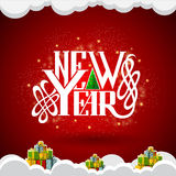 New year lettering in the center on red background with gift boxes Royalty Free Stock Images