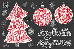 New year lettering,Christmas card elements set. Christmas,New year tree and balls shape with lettering,handwriting title ,decoration.Christmas Vintage vector Royalty Free Stock Images