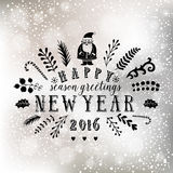 New Year lettering design on bokeh lights background. Winter holidays card. Retro styled badge, banner. Vintage Insignias. Silhouette Christmas typographic stock illustration