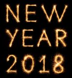NEW YEAR 2018 lettering drawn with bengali sparkles stock photos