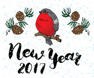 New year 2017 lettering. Hand drawn vector illustration with bird and pine tree branches. Royalty Free Stock Images