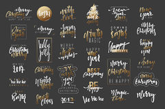New Year 2017 lettering for the poster and greeting cards. Merry Christmas and Happy New Year. Calligraphy Xmas holiday. Text design element Stock Photography