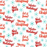 New Year Lettering Seamless Pattern. Vector Illustration of Holiday Background. Merry Christmas Stock Images