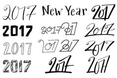 New year 2017 lettering set Royalty Free Stock Photo
