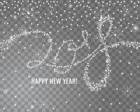 2018 New Year lettering from snowflakes and sparkles on transparent background. With snowfall around it. Vector illustration vector illustration