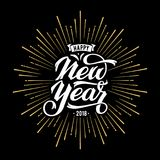 New Year lettering Starburst. Happy New Year Card with Starburst. Vector illustration Stock Photos