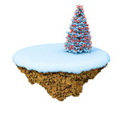 New Year levitate little island. Royalty Free Stock Image