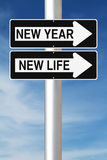 New Year and Life. Conceptual road signs on new beginnings Stock Photos