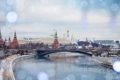 Moscow Kremlin and river day winter glowing panorama royalty free stock image