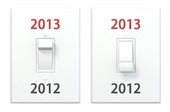 New year light switch 2012 2013 Stock Photography