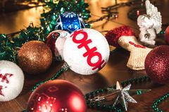 New Year lighting decoration in red and yellow color. In landscape orientation royalty free stock photography