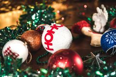 New Year lighting decoration in red and yellow color. In landscape orientation royalty free stock photo