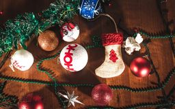 New Year lighting decoration in red and yellow color. In landscape orientation royalty free stock image