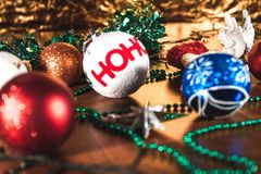New Year lighting decoration in red and yellow color. In landscape orientation stock images