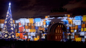 New Year lighting show in St. Petersburg, Russia stock video footage