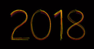 New Year 2018 with Lights. 3D Rendered Image Stock Photo