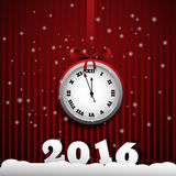 New year line background with vintage clock. Vector illustration. Eps 10 Royalty Free Stock Photos