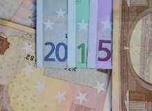 New Year 2015. Lined with euro banknotes royalty free stock image