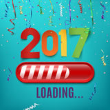 New year 2017 loading bar on celebrating background. New year 2017 loading bar on celebrating background with ribbons and confetti. Vector illustration Stock Photo