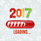 New year 2017 loading bar on winter background. New year 2017 loading bar on winter background with snow and snowflakes. Vector illustration Royalty Free Stock Image