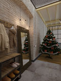 New year loft interior, Christmas tree, 3D render Stock Photos