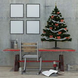 New year loft interior, Christmas tree, 3D render Stock Photos
