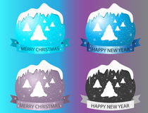 New year logo with Christmas trees on multi-colored background. Royalty Free Stock Images
