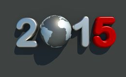 New year 2015 logo. 3d metallic new year 2015 logo on grey background with 3d globe Stock Images