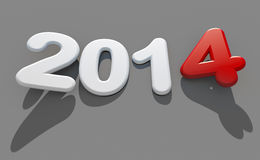 New year 2014 logo. 3d new year 2014 shape on grey background stock illustration