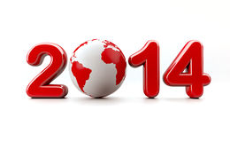 New year 2014 logo. 3d new year 2014 logo on white background with 3d globe - Eve concept Royalty Free Stock Images