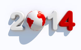 New year 2014 logo. 3d new year 2014 logo on white background with 3d globe - Eve concept Royalty Free Stock Image