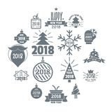 2018 New Year logo icons set, simple style. 2018 New Year logo icons set. Simple illustration of 16 2018 New Year logo vector icons for web vector illustration