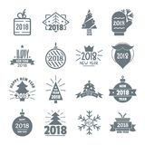 2018 New Year logo icons set, simple style Stock Photography