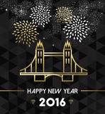 New Year 2016 london uk tower bridge travel gold. Happy New Year 2016 London greeting card with England landmark tower bridge in gold outline style. EPS10 vector Vector Illustration
