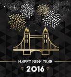 New Year 2016 london uk tower bridge travel gold Stock Images