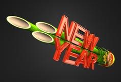 New Year Long Kadomatsu On Black Background Stock Photo