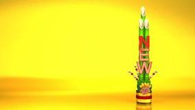 New Year Long Kadomatsu On Gold Background stock video footage