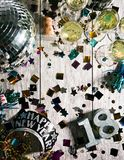 New Year: Looking Down At Party Table For NYE Stock Image