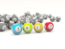 2017 New year lottery balls isolated on white. 3D illustration Royalty Free Stock Photos