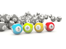 2016 New year lottery balls. On white Stock Image
