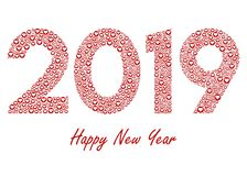 2019 New Year with love red heart icons stock illustration