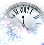 2017 New Year luminous background. 2017 New Year luminous background with clock. Vector illustration Stock Photo