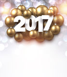 2017 New Year luminous background. 2017 New Year background with golden Christmas balls. Vector illustration Stock Image