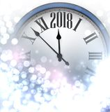 2018 New Year luminous background. 2018 New Year luminous background with clock. Vector illustration Royalty Free Stock Photography