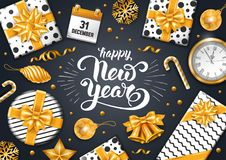Festive New Year Greeting Card. New Year luxury design with festive objects on black background. Calligraphy inscription Happy New Year. Vector illustration Royalty Free Stock Image