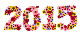 2015, new year made from flowers isolated on a white background Stock Photography