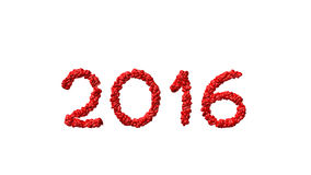 New year 2016 made from the hearts. White background Royalty Free Stock Image