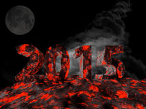 New year 2015 made from lava. 3d rendering of new year 2015 made from lava Royalty Free Stock Photos