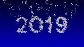 New year 2019 made from musical notes