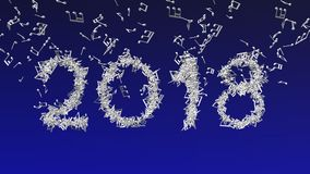 New year 2018 made from musical notes Stock Photos